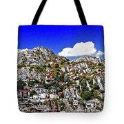 Rugged Cliffside Village Digital Painting Tote Bag