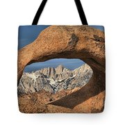 Rugged Peaks Through Mobius Tote Bag