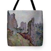 Ruins In The Fog At Crozant Tote Bag by Jean Baptiste Armand Guillaumin