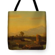 Ruins Of Paestum Tote Bag by Albert Bierstadt