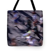 Runners Along Street In A Marathon Blurred And Abstract Tote Bag