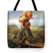 Running Away Form A Thunderstorm Tote Bag