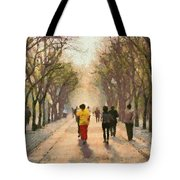 Running Early In The Morning Tote Bag