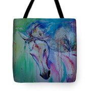 Running In Shades Of Pink And Blue Tote Bag