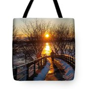 Running In Sunset Tote Bag by Paul Ge