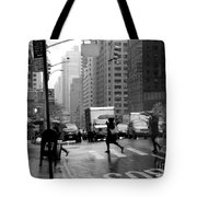 Running In The Rain - New York City Street Scene Tote Bag