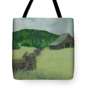 Rural Landscape Colorful Oil Painting Barn Fence Tote Bag