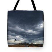 Rural Road In Lightning Storm Tote Bag