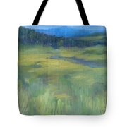 Rural Valley Landscape Colorful Original Painting Washington State Water Mountains K. Joann Russell Tote Bag