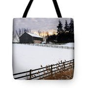 Rural Winter Landscape Tote Bag