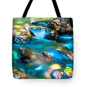 Rushing Water Over Fall Leaves Tote Bag