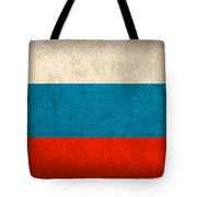 Russia Flag Distressed Vintage Finish Tote Bag by Design Turnpike