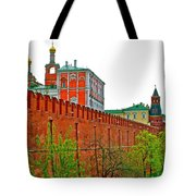 Russian Orthodox Church From Park Outside The Kremlin In Moscow-russia Tote Bag