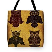 Rustic Aged 4 Owls Tote Bag