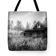 Rustic Historic Woodlea House - Black And White Tote Bag