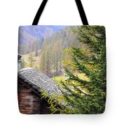 Rustic House And Tree Tote Bag