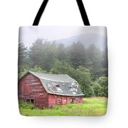 Rustic Landscape - Red Barn - Old Barn And Mountains Tote Bag