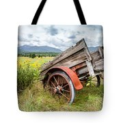Rustic Landscapes - Wagon And Wildflowers Tote Bag