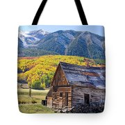 Rustic Rural Colorado Cabin Autumn Landscape Tote Bag