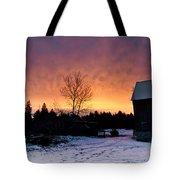 Rustic Winter Sunrise Tote Bag