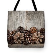 Rustic Wood With Pine Cones Tote Bag