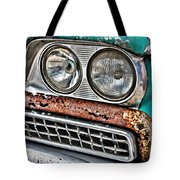 Rusty 1959 Ford Station Wagon - Front Detail Tote Bag