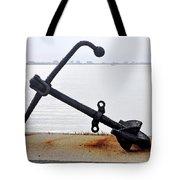 Rusty Black Boat Anchor By Sarasota Harbor Usa Tote Bag