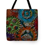 Rusty Gears On Grunge Texture Background Tote Bag