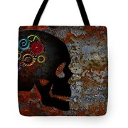 Rusty Gears On Skull Grunge Texture Background Tote Bag