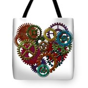 Rusty Metal Gears Forming Heart Shape Illustration Tote Bag