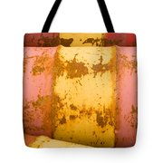 Rusty Oil Barrels Yellow Red Background Pattern Tote Bag