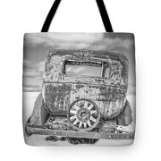 Rusty Old Car In The Snow Tote Bag