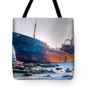 Rusty Old Shipwreck Aground  On Rocky Reef Tote Bag