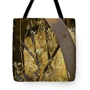 Rusty Old Wheel And Yellow Grasses Tote Bag