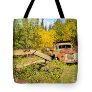 Rusty Truck And Grader Forgotten In Fall Forest Tote Bag