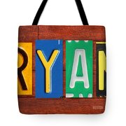 Ryan License Plate Name Sign Fun Kid Room Decor. Tote Bag