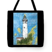 S Manitou Island Lighthouse Mi Nautical Chart Map Art Tote Bag