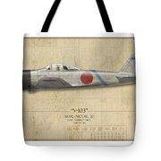 Saburo Sakai A6m Zero - Map Background Tote Bag