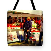 Sacks Of Potatoes Red Pepper Pots Tomato Baskets Marche Jean Talon Montreal Scenes Carole Spandau Tote Bag
