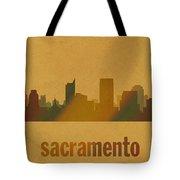 Sacramento California City Skyline Watercolor On Parchment Tote Bag