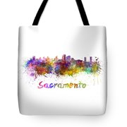 Sacramento Skyline In Watercolor Tote Bag