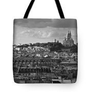 Sacre Coeur Over Rooftops Black And White Version Tote Bag