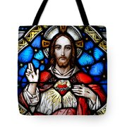 Sacred Heart Of Jesus In Stained Glass Tote Bag