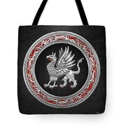 Sacred Silver Griffin On Black Leather Tote Bag