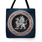 Sacred Silver Griffin On Blue Leather Tote Bag