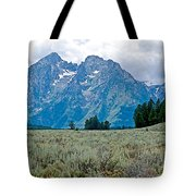 Sagebrush Flatland And Teton Peaks Near Jenny Lake In Grand Teton National Park-wyoming- Tote Bag
