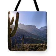 Saguaro Cacti And Catalina Mountains Tote Bag