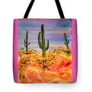 Saguaro Cactus Desert Landscape Tote Bag
