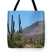 Saguaros And Mountain Tote Bag