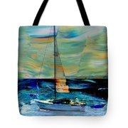 Sailboat And Abstract Tote Bag